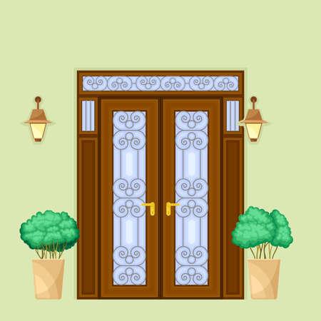 Facade of Front Double Door with Decorative Bushes in Cachepot and Light Vector Illustration Ilustración de vector