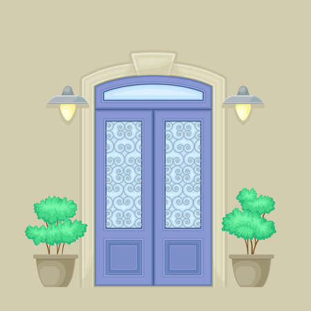 Facade of Front Double Door with Ornamental Windows, Decorative Bushes in Cachepot and Light Vector Illustration