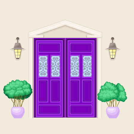 Facade of Front Double Door with Window Ornate Decorated with Cachepot and Light Vector Illustration