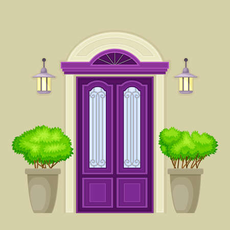 Facade of Purple Front Double Door with Decorative Bushes in Cachepot and Light Vector Illustration