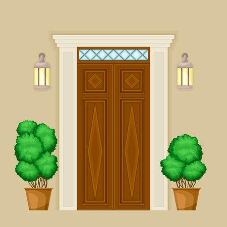 Facade of Wooden Front Double Door with Decorative Bushes in Cachepot and Light Vector Illustration Ilustración de vector