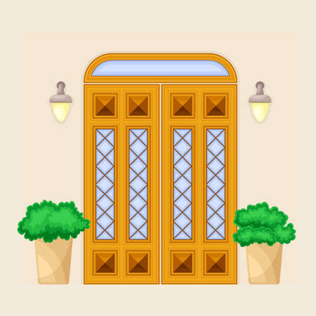 Facade of Front Double Door with Window Ornate Decorated with Bushes in Cachepot and Light Vector Illustration