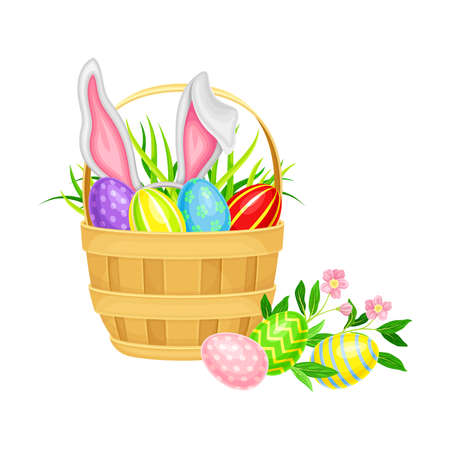 Decorated Easter Eggs or Paschal Eggs Rested in Wicker Basket with Green Grass and Spring Flowers Vector Illustration