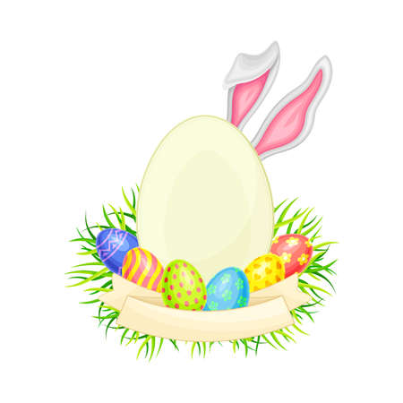 Oval Frame with Peeped out Bunny Ears and Decorated Easter Eggs or Paschal Eggs Rested in Green Grass Nest with Ribbon Vector Arrangement
