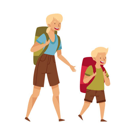 Female Mom with Her Little Son Carrying Backpacks Hiking or Trekking Vector Illustration
