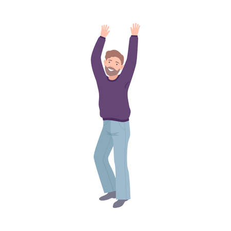 Happy Bearded Man Standing Raising Up Hands Cheering About Something Vector Illustration