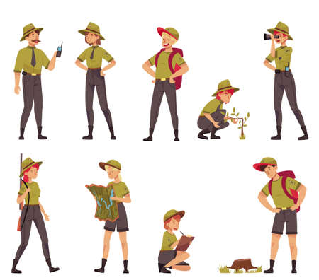 Male and Female as Park Ranger or Forest Rangers Protecting and Preserving National Parklands Vector Set