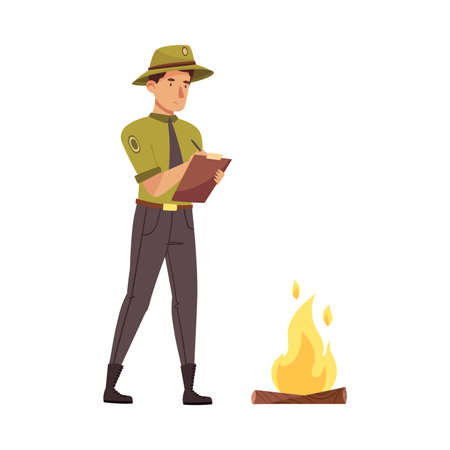 Male Park Ranger in Khaki Hat Protecting and Preserving National Parkland Detecting Violation Vector Illustration