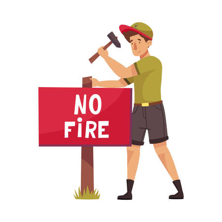 Male Park Ranger in Khaki Hat Nailing Placard Protecting and Preserving National Parkland Vector Illustration