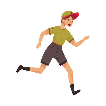 Woman Park Ranger in Khaki Cap and Shorts Running Protecting and Preserving National Parkland Vector Illustration