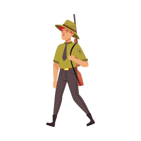 Male Park Ranger in Khaki Hat and Shirt Walking Carrying Rifle Protecting and Preserving National Parkland Vector Illustration