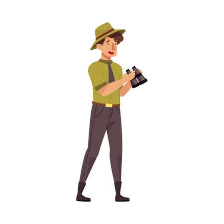 Male as Park Ranger in Khaki Hat and Shirt Watching in Binocular Protecting and Preserving National Parkland Vector Illustration