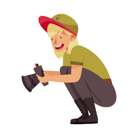 Woman as Park Ranger in Khaki Cap Taking Photograph of Nature in National Parkland Vector Illustration
