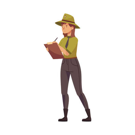 Woman as Park Ranger in Khaki Hat Protecting and Preserving National Parkland Detecting Violation Vector Illustration