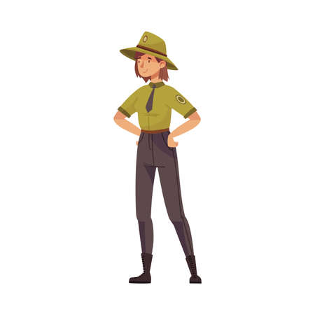Woman as Park Ranger in Khaki Hat and Shirt Protecting and Preserving National Parkland Vector Illustration
