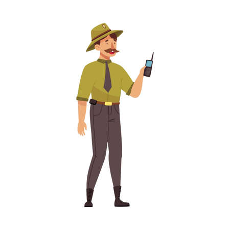Moustached Man as Park Ranger in Khaki Hat Holding Walkie-talkie Protecting and Preserving National Parkland Vector Illustration