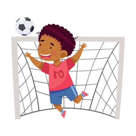 Cute African American Boy Goalkeeper Catching Ball Between Goalposts Vector Illustration Ilustración de vector