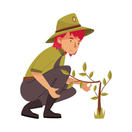 Redhead Woman as Park Ranger in Khaki Hat and Shirt Sitting Near Broken Tree in National Parkland Vector Illustration