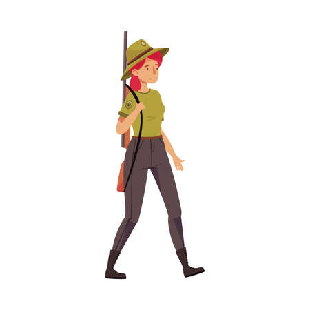 Female Park Ranger in Khaki Hat and Shirt Walking Carrying Rifle Protecting and Preserving National Parkland Vector Illustration