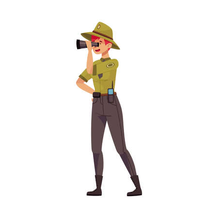 Female as Park Ranger in Khaki Hat and Shirt Watching in Binocular Protecting and Preserving National Parkland Vector Illustration