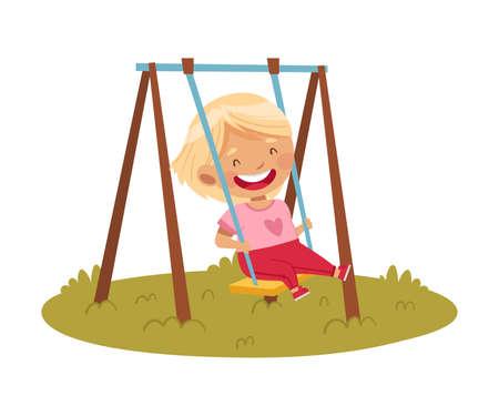 Smiling Girl Swinging at Playground Enjoying Hot Summer Season Vector Illustration