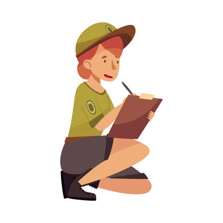 Woman as Park Ranger in Khaki Cap Protecting and Preserving National Parkland Detecting Violation Vector Illustration