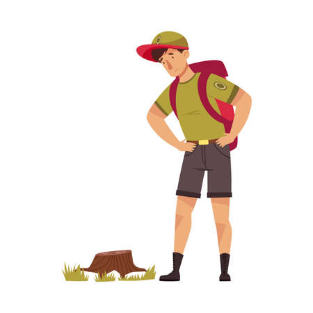 Male as Park Ranger in Khaki Cap with Backpack Looking at Tree Stump in National Parkland Vector Illustration