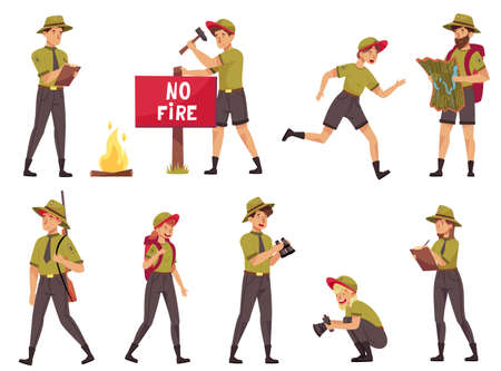 People Characters as Park Ranger or Forest Rangers Protecting and Preserving National Parklands Vector Set