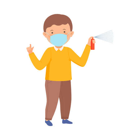 Cute Boy Wearing Face Protective Mask Holding Sanitizer Spraying Vector Illustration