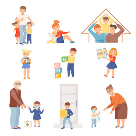 Cute Little Children Loving and Protecting Their Family Members Vector Set Vetores