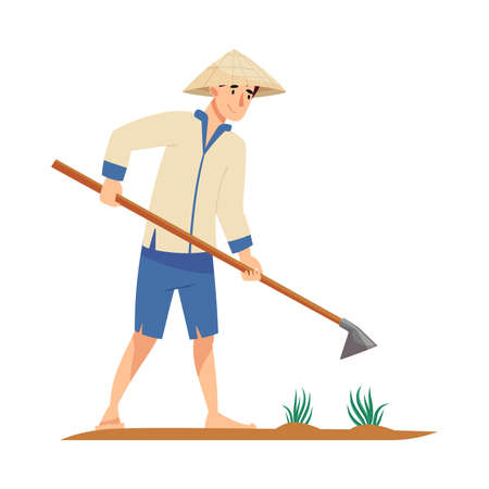 Vietnamese Man Farmer in Straw Conical Hat Holding Hoe Cultivating Soil Vector Illustration