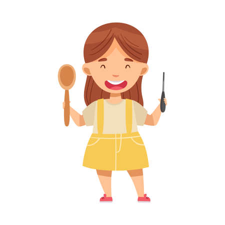 Smiling Girl with Chisel and Carved Spoon Woodworking Vector Illustration