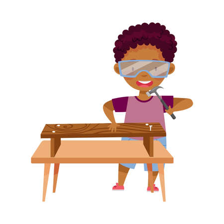 Little African American Boy in Protective Goggles at Table Woodworking Hammering Nail in Bench Vector Illustration