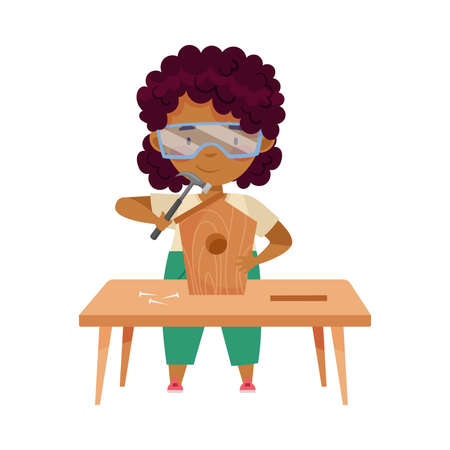 Little African American Girl in Protective Goggles at Table Woodworking Hammering Nails in Nesting Box Vector Illustration