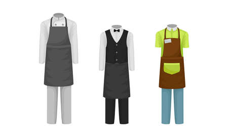 Workwear or Professional Staff Clothing with Chef and Waiter Outfit Front View Vector Set
