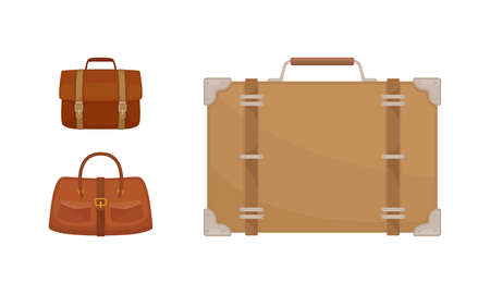 Non-wheeled Luggage or Suitcase Bag and Trunk with Handle Vector Set
