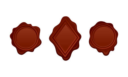 Brown Wax Seal Used for Sealing Letters Close as Verification Sign Vector Set
