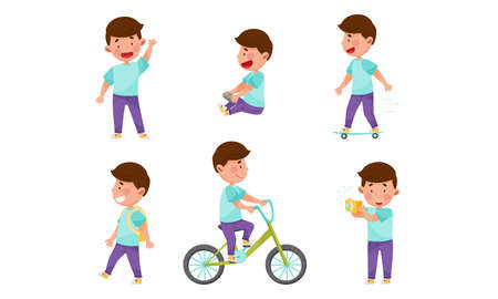 Little Boy Character Engaged in Computer Game Playing, Skateboarding and Cycling Vector Illustration Set