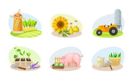 Farming Composition with Agricultural Crops and Farming Inventory Vector Set Ilustración de vector
