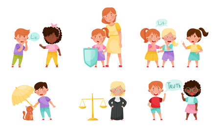 Little Kid Characters Playing Fair and Honestly Vector Illustration Set