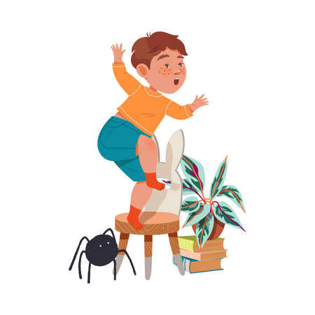 Little Boy Afraid of Spider Jumping on Chair Shouting Vector Illustration
