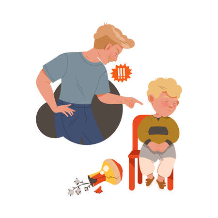 Little Boy Afraid of Punishment for Broken Vase Sitting on Chair with Guilty Look Vector Illustration