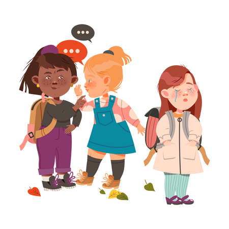 Crying Freckled Girl Standing with Backpack Afraid of Bullying and Gossiping Behind the Back Vector Illustration