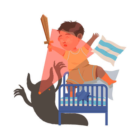 Little Boy Afraid of Monster on His Bed Fighting with Sword Vector Illustration