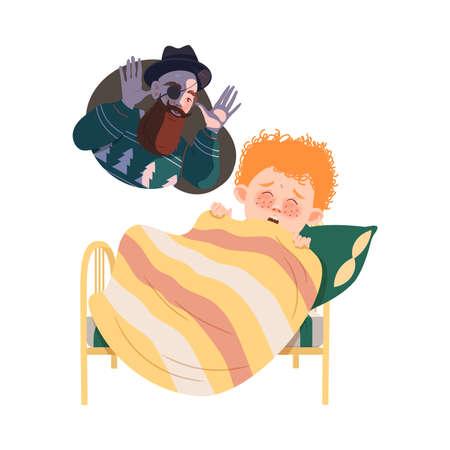 Little Awaken Boy Afraid of Nightmare Shouting Vector Illustration