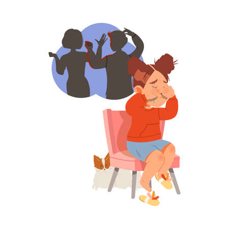 Little Girl Afraid of Parents Scolding and Quarrelling Sitting on Chair and Crying Vector Illustration