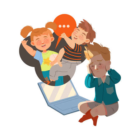 Little Boy Afraid of Mocking and Cyberbullying Sitting Near Laptop Covering His Ears with His Hands Vector Illustration