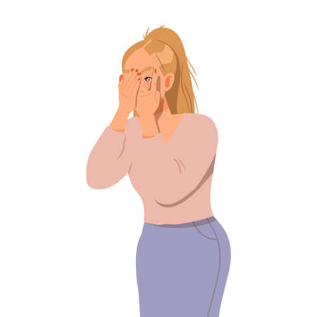 Scared Woman Covering Her Face with Her Hands Vector Illustration