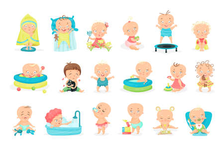 Toddler Playing with Toys and Sitting in Swimming Pool Vector Illustration Set Vektoros illusztráció