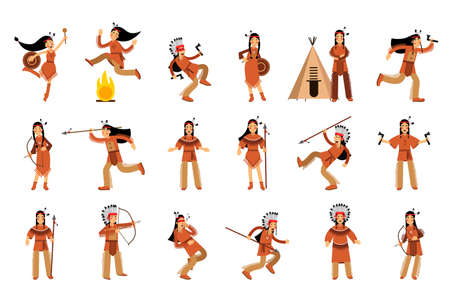 Red Indian or American Indians Men and Woman in National Clothing Standing with Spear and Dancing Vector Illustration Set